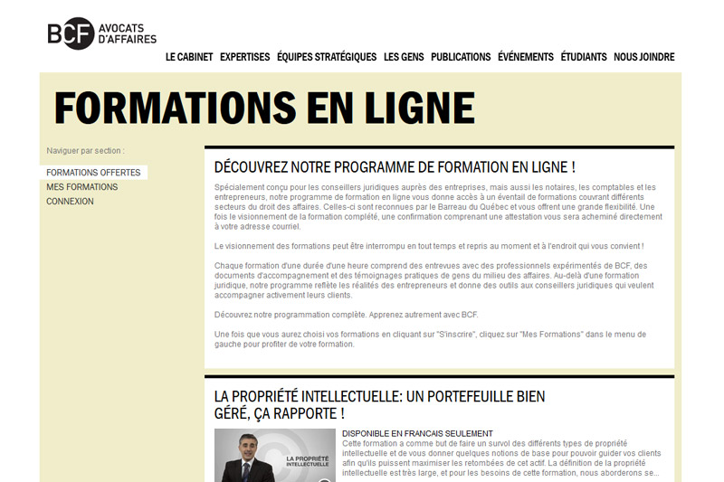 BCF-Formation en ligne -Website transactional