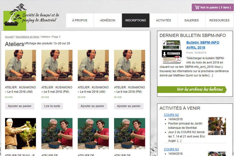 Boutique en ligne de la Société de bonsaï et de penjing de Montréal